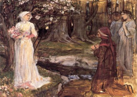 Waterhouse, John William: Dante and Beatrice. Mythical Fine Art Print/Poster. Sizes: A4/A3/A2/A1 (00838)